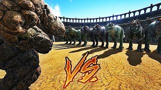 Video 20 GOLEMS VS 10 GIGANOTOSAURUS ! | ARK: Survival Evolved ! MP3, 3GP, MP4, WEBM, AVI, FLV Agustus 2017