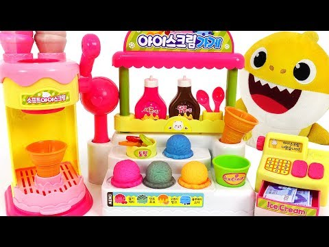 Baby Shark Syrup Ice cream shop play~! Let& 39;s make Color Changing Ice cream!  PinkyPopTOY