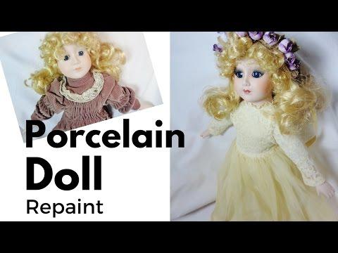 Porcelain Doll Repaint - Thrift Doll Transformation