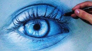 How to Draw a Realistic blue Eye (Time Lapse)