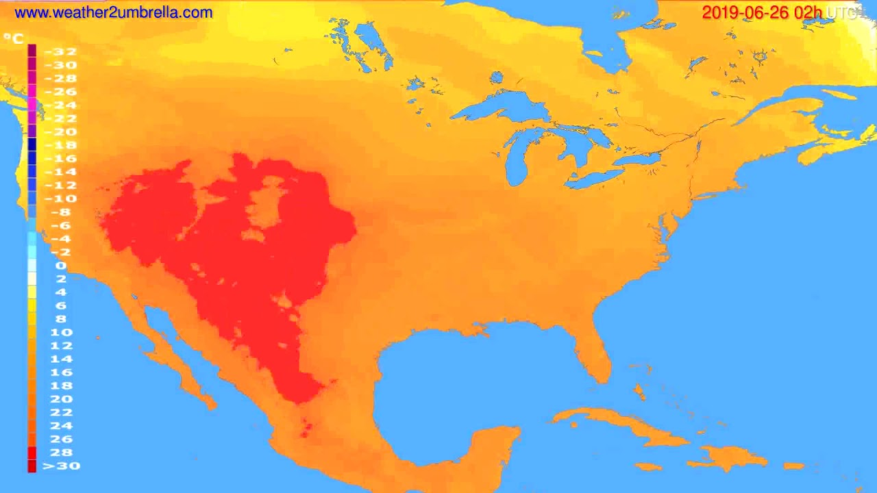 Temperature forecast USA & Canada // modelrun: 00h UTC 2019-06-24