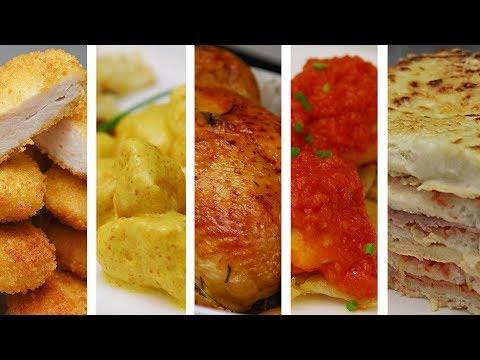 TOP 5 RECETAS FÁCILES CON POLLO | Haz comidas ricas en poco tiempo
