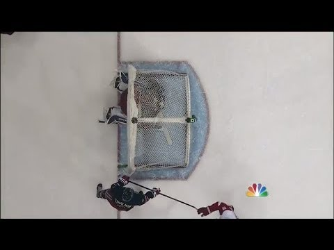 gets - New York Rangers goalie Henrik Lundqvist has the net come crashing down from behind him leaving him trapped.