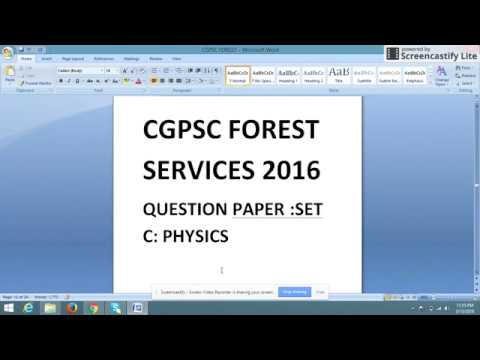CGPSC FOREST SERVICE :2016 QUESTION PAPER:PHYSICS