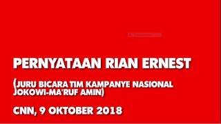 Video Pernyataan Rian Ernest ( Juru Bicara Tim Kampanye Nasional Jokowi – Ma'ruf Amin ) MP3, 3GP, MP4, WEBM, AVI, FLV Desember 2018