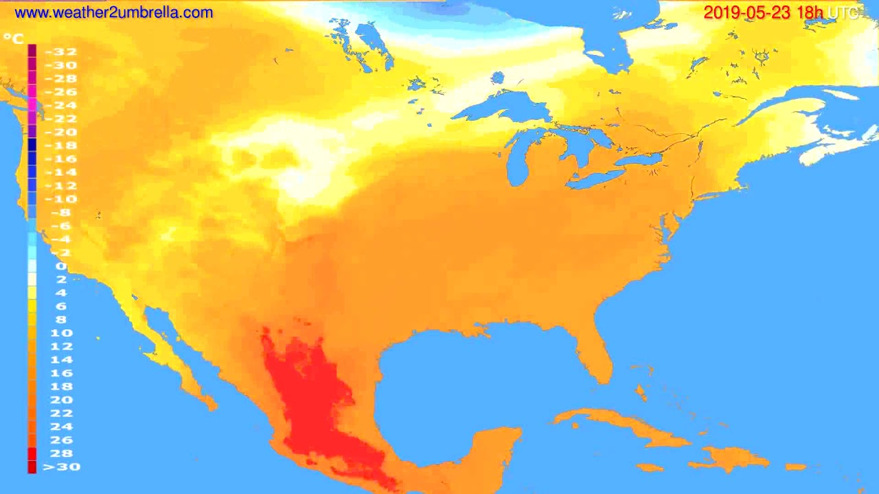 Temperature forecast USA & Canada // modelrun: 00h UTC 2019-05-21