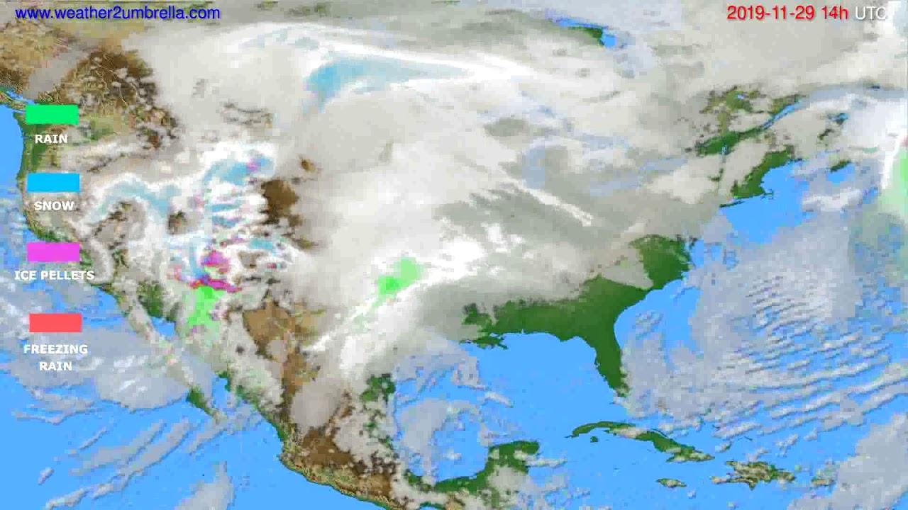 Precipitation forecast USA & Canada // modelrun: 12h UTC 2019-11-27