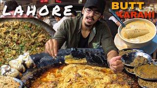PAKISTANI STREET FOOD IN LAHORE - WORLD FAMOUS BUTT KARAHI, FRIED FISH, FALOODA AND BEEF KABAB