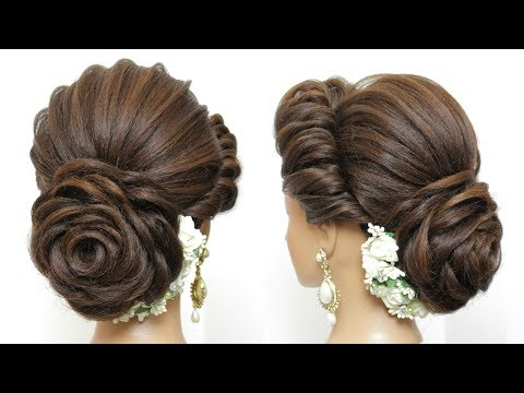 New hairstyle - New Latest Hairstyle With Flower Bun. Bridal Updo For Girls And Women