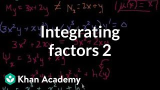 Integrating factors 2 | First order differential equations | Khan Academy