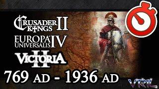 CK2 to EU4 to V2 Mega Campaign 769 AD - 1936 AD Timelapse