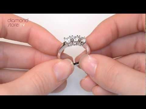 Chloe 18K White Gold 3 Stone 1.00ct Diamond Ring - FT23 322Y