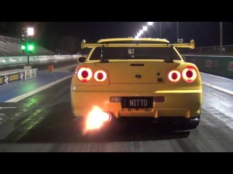 nitto nissan skyline gt-r34 drag check (wonderful sound)