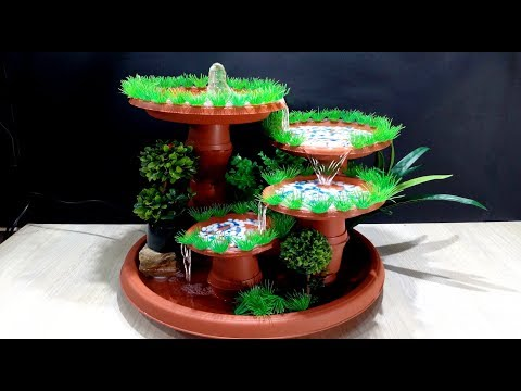 How To Make Terracotta Fountain With Plastic Pots / DIY
