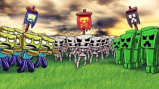 Minecraft   ZOMBIE ARMY VS CREEPER ARMY VS SKELETON ARMY! (Massive Mob Battles)