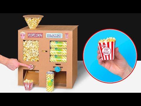 Du carton + du popcorn + du soda + des films = Cinéma à la maison