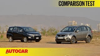 The Toyota Innova Crysta is currently the default choice for anyone looking for an automatic diesel MPV. We question if the Tata Hexa could change things.SUBSCRIBE to Autocar India for hottest automotive news and the most comprehensive reviews ► http://bit.ly/AutocarIndAutocar India is your one stop source for test drive reviews & comparison test of every new car released in India. We also offer a great mix of other automotive content including podcasts, motor show reports, travelogues and other special features.Click this link for latest car reviews ►http://bit.ly/ACI-NewCarReviewsClick this link for comparison tests of latest cars & bikes ►http://bit.ly/ACI-ComparisonClick this link for latest bike reviews ►http://bit.ly/ACI-BikeReviewsClick this link for Autocar India exclusive features ►http://bit.ly/ACI-FeaturesVisit http://www.autocarindia.com for the latest news & happenings from the auto world.Facebook: http://www.facebook.com/autocarindiamagTwitter: http://www.twitter.com/autocarindiamagG+: https://plus.google.com/+autocarindia1