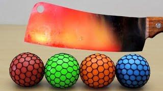 EXPERIMENT Glowing 1000 degree MEAT CHOPPER vs Mesh Squish Ball
