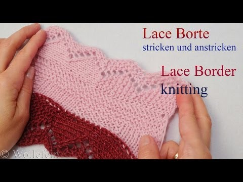 Lace Bordüre stricken und anstricken – Knitting on Lace Border 2