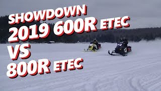 10. 2019 Ski-Doo MXZ Rev Gen4 XRS 600R vs Renegade X RevXP 800etec Lake Drag Race