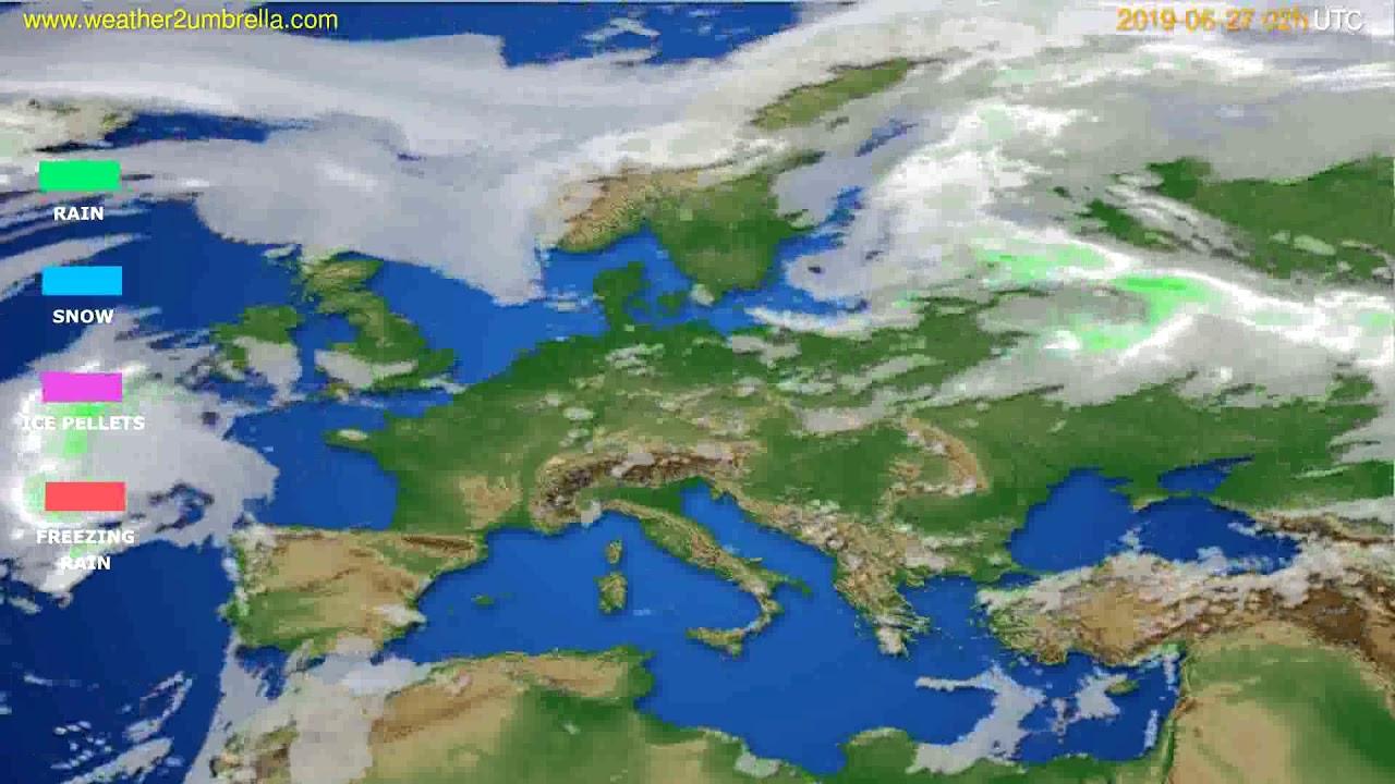 Precipitation forecast Europe // modelrun: 00h UTC 2019-06-25