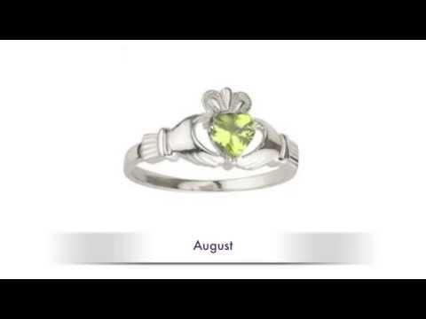 Claddagh Birth Stone Rings - Claddagh Birthstone Rings