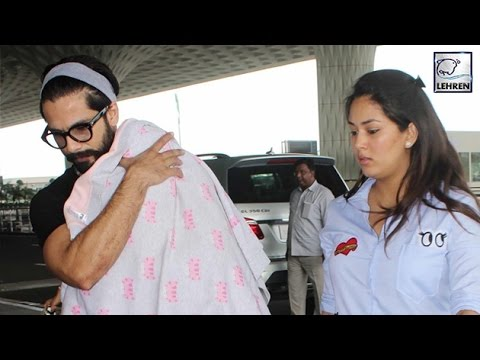 Shahid kapoor was spotted carrying his daughter misha at a local