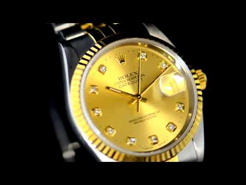 Men's Stainless Steel/18k Yellow Gold Rolex Datejust Automatic Wristwatch with Diamonds