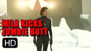 Resident Evil Retribution - Milla Kicks Zombie Butt