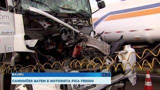 Acidente entre dois caminhões deixa motorista ferido na Rodovia Marechal Rondon