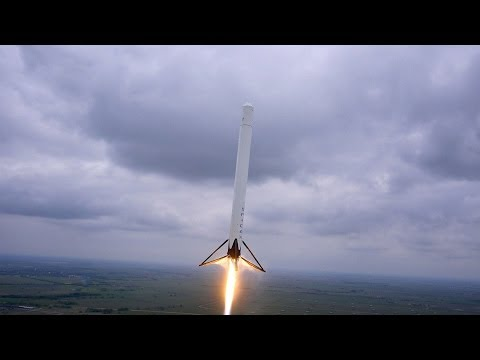 Amazing footage of Space X's Falcon 9 Re-useable Rocket Test Flight (taken by a hexacopter)