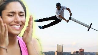 Women Try Extreme Pogo Sticking