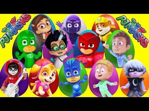 PJ Masks Mega Play Doh 15 Eggs with LOL Surprise Dolls, Paw Patrol, Coco Movie, Fingerlings Toys
