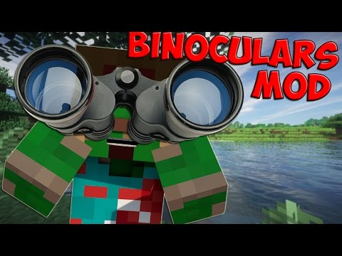 Minecraft Mods: Binoculars Mod - ZOOM IN, NIGHTVISION, and WAYPOINTS! (Minecraft Mod Showcase)