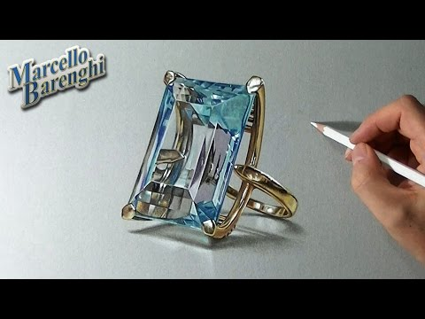How to draw an aquamarine ring