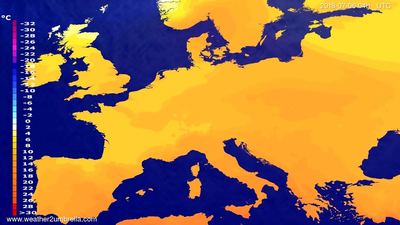 Temperature forecast Europe 2018-07-02