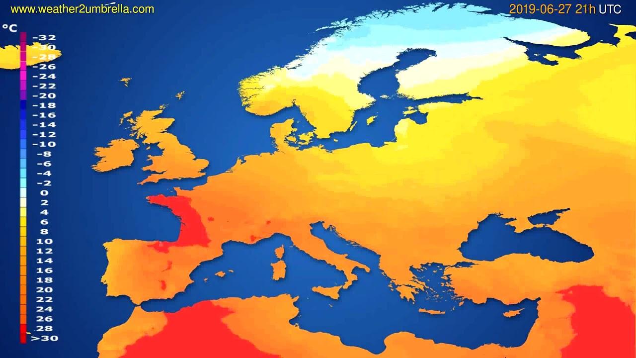 Temperature forecast Europe // modelrun: 00h UTC 2019-06-26