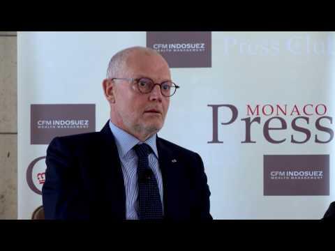 H.E. Mr Serge Telle talks to the press