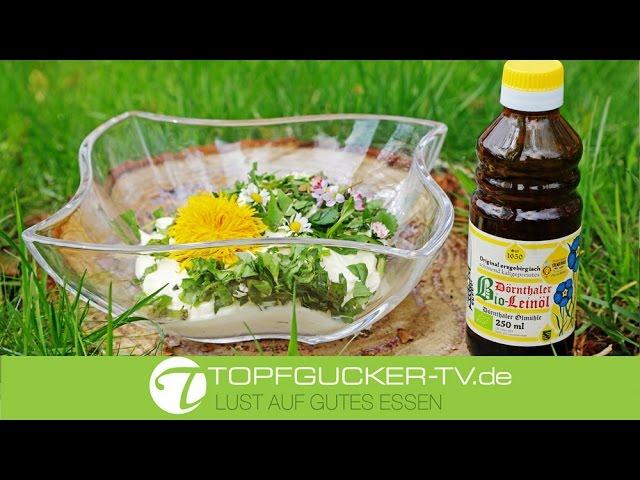 Apfelquark mit Bio-Leinöl mit frischen Wildkräutern