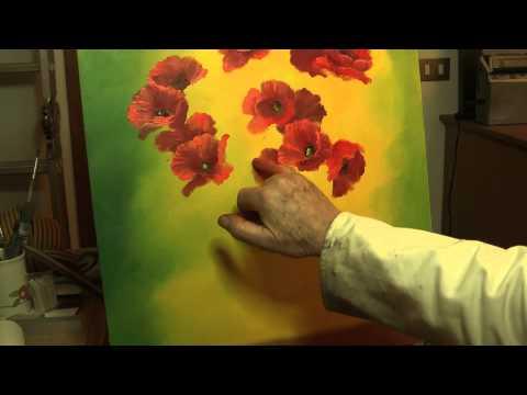 come dipingere dei papaveri utilizzando solamente le dita