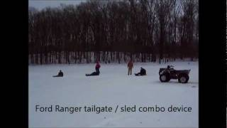 6. 4 wheeling and sledding on ice plus tailgate sledding.