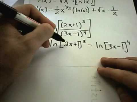 patrickJMT - In this video, I give the formulas for finding derivatives of logarithmic functions and use them to find derivatives! For more free math videos, visit http:/...