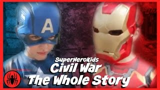 Video The Whole Story: Civil War Captain America vs Ironman Spiderman fun in real life superherokids movie MP3, 3GP, MP4, WEBM, AVI, FLV Agustus 2017