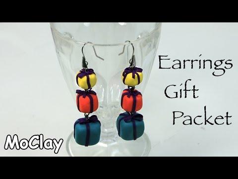 fimo - orecchini a forma di pacchetti regalo