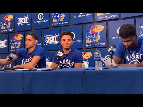KU players post game after UNCG win