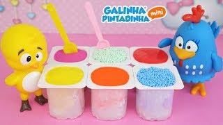 GALINHA PINTADINHA PINTINHO AMARELINHO Historinha Danone Colorido Surpresa Massinha Play Doh Areia