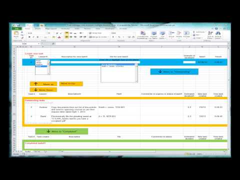 Excel spreadsheet for tracking tasks (shared workbook)
