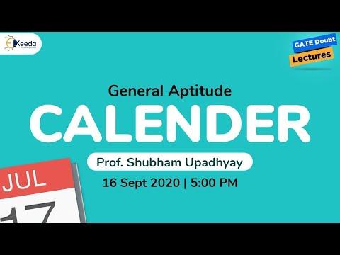 General Aptitude - Calender - Prof. Shubham Upadhyay - 16 Sep, 5 PM