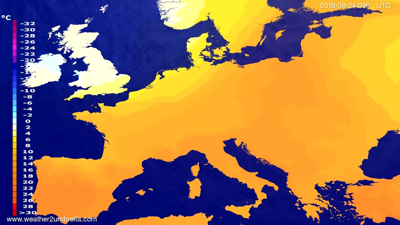 Temperature forecast Europe 2018-08-21