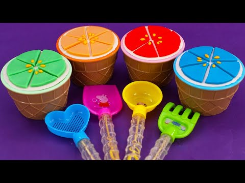 Play doh - Learn4ColorsPlayDohinIceCreamCupsand PJ  Slime,Rainbow,Surprise Eggs,Kinder Joy Egg
